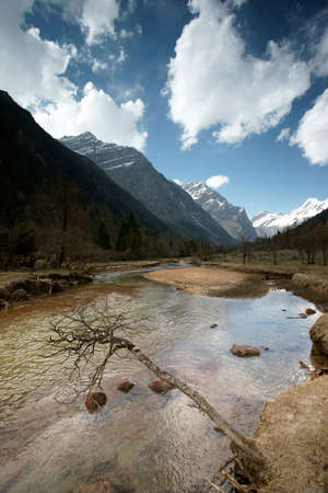 Plateau river with blue sky in sichuan of china  photo