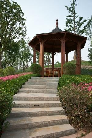 wood pavilion in park  photo