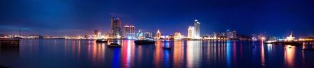 Vue panoramique Xiamen île nocturne scape, province de fujian, Chine