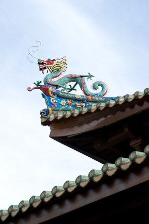 Chinese dragon statue on the eave of temple photo