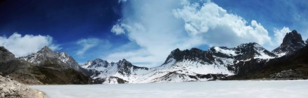 snow mountain and frozen lake in sichuan of china