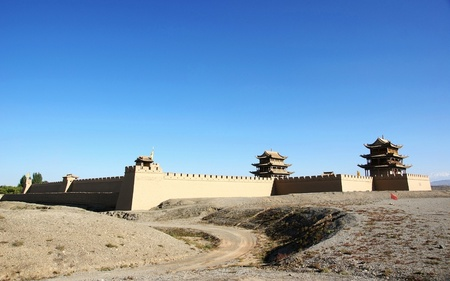 Chinese ancient city gate tower in fort jiayuguan photo