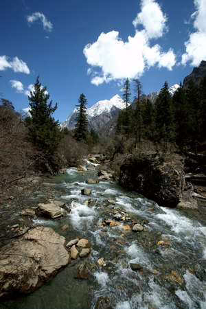 Plateau river with blue sky,sichuan,china photo