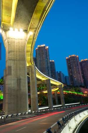 led lighting: Bridge with city night scape,chongqing,china Stock Photo