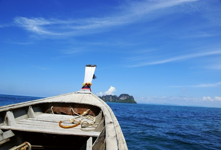 sailing wooden boat with blue sky Stock Photo - 10800006