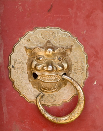 Doorknob of tibetan temple photo