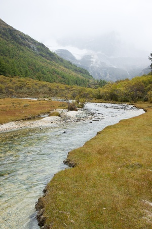 Plateau river landscape in autumn photo