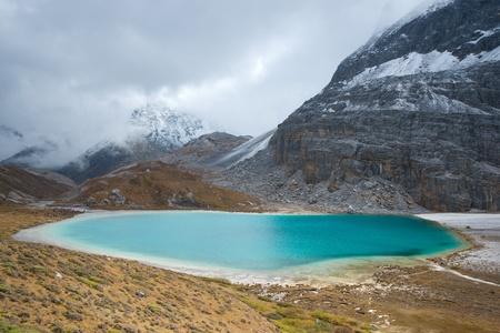 jokul: Niunaihai Lake with snow mountains