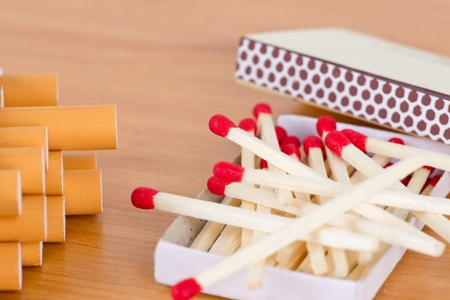 inhaled: Match with cigarette