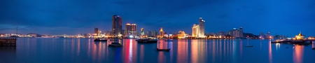 Xiamen island night scape panoramic view photo
