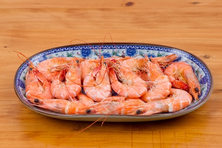 Cooked shrimp in plate