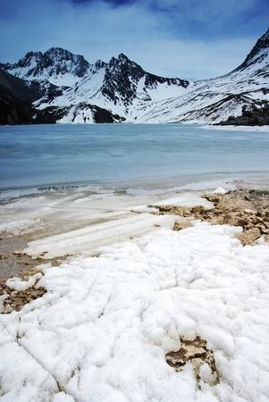 jokul: Jokul with frozen lake Stock Photo