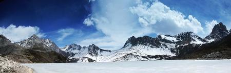 jokul: snow mountain and frozen lake landscape panorama