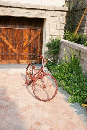 Old bicycle in yard photo