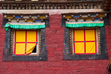 Windows of tibetan temple photo