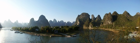 Li river with hill panorama photo