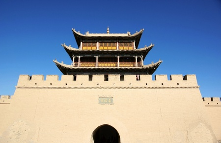 Chinese ancient city gate tower in fort jiayuguan Stock Photo