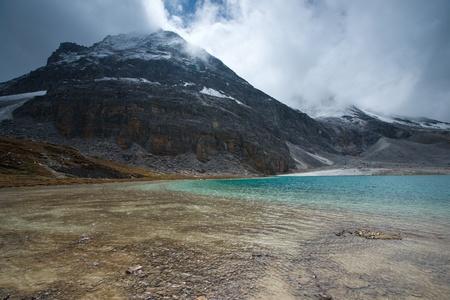 Lake with snow mountains photo