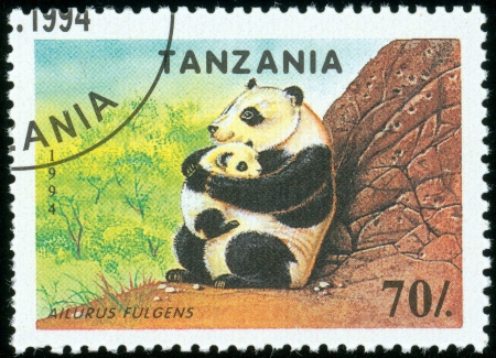 TANZANIA - CIRCA 1994  A stamp printed in Tanzania shows giant panda, circa 1994