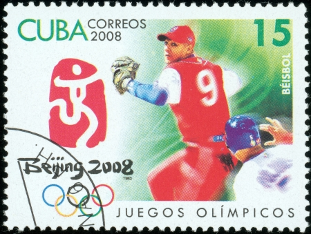 CUBA - CIRCA 2008  stamp printed by CUBA, shows Olympic games Beijing 2008 baseball , circa 2008 Stock Photo - 13714490