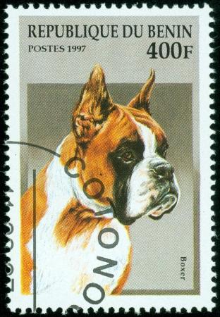 Republique du Benin - CIRCA 1997  A stamp printed in Republique du Benin shows Boxer, circa 1997 photo