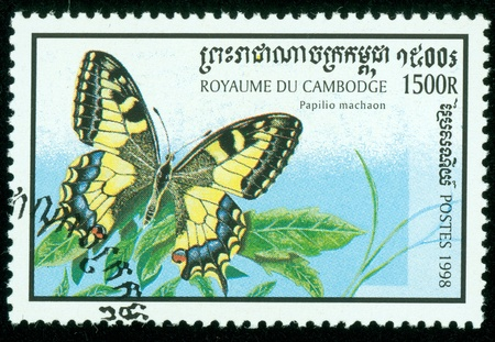 CAMBODIA - CIRCA 1998  stamp printed by Cambodia, shows butterfly, circa 1998  photo