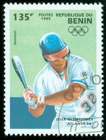 BENIN - CIRCA 1995  stamp printed by BENIN, shows Olympic games baseball Atlanta 1996 , circa 1995 photo