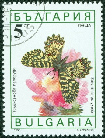 BULGARIA - CIRCA 1990  A Stamp printed in BULGARIA and shows image of a butterfly  Zerinthia polyxena  , circa 1990