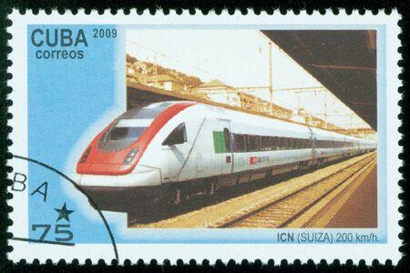 CUBA - CIRCA 2009  A Stamp printed in CUBA shows image of High-speed train, circa 2009