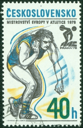 CZECHOSLOVAKIA - CIRCA 1978  A stamp printed in the Czechoslovakia, dedicated 5th European Athletic Championships, Prague, shows Shot put, circa 1978 Stock Photo - 13760914