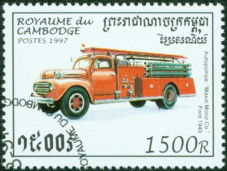CAMBODIA - CIRCA 1997  A stamp printed in Cambodia shows image of a old fire truck, circa 1997