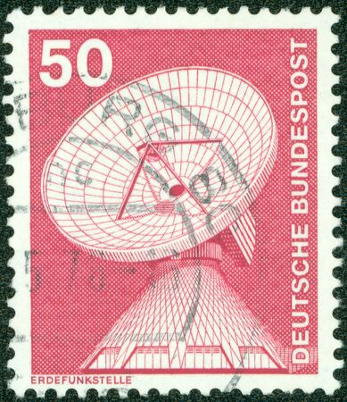 GERMANY - CIRCA 1975  A stamp printed in Germany from the  Industry and Technology  issue showing a telecommunications dish, circa 1975