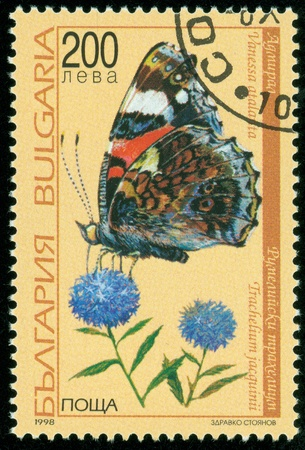 BULGARIA - CIRCA 1998  A Stamp printed in BULGARIA and shows image of a butterfly , circa 1998 photo
