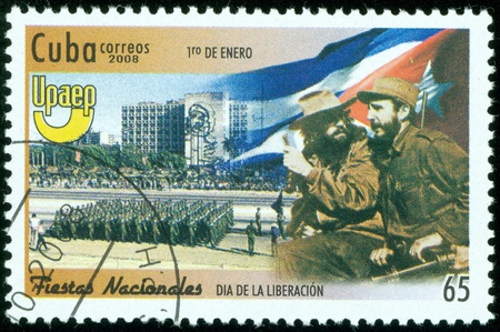 CUBA - CIRCA 2008   stamp printed in CUBA shows Fidel Castro  L  with parade, circa 2008
