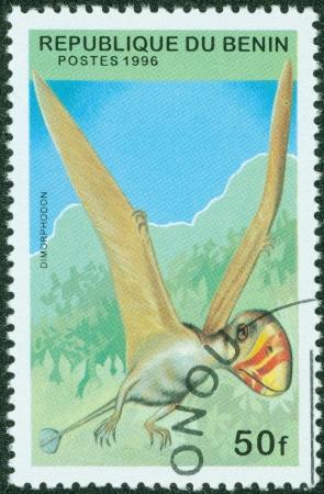 BENIN - CIRCA 1996  stamp printed by BENIN, shows pterosaur, circa 1996 photo