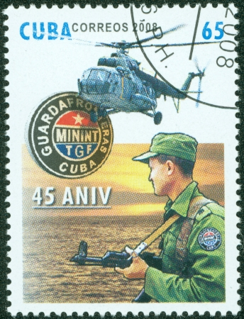 CUBA - CIRCA 2008  A stamp printed in Cuba showing soldier with helicopter, circa 2008