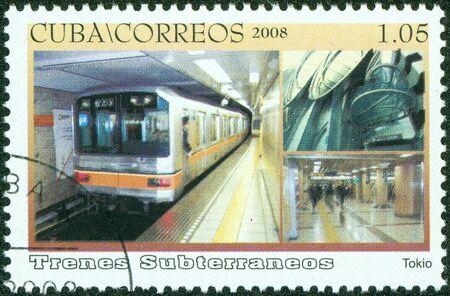 CUBA - CIRCA 2008  A stamp printed in Cuba dedicated to subways, shows the Tokyo subway, circa 2008 photo