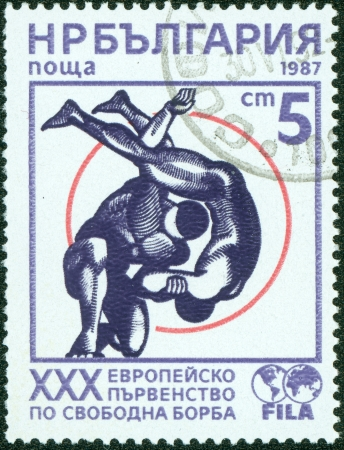 ancient olympic games: BULGARIA - CIRCA 1987  A postage stamp printed in the Bulgaria, devoted to the XXX Europe Championship, Bulgaria, circa 1987