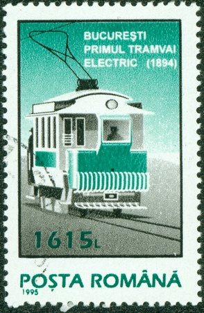 ROMANIA - CIRCA 1995  A stamp printed in Romania shows a tram, circa 1995  Stock Photo - 13975934
