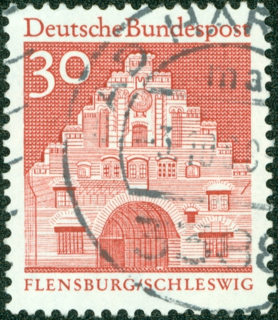 GERMANY - CIRCA 1966  A stamp printed in Germany from the  Historic Buildings  issue showing Nordertor, Flensburg, circa 1966  Stock Photo - 13975866