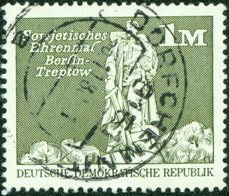 GERMANY- CIRCA 1974  A stamp printed in GDR  East Germany  shows Soviet War Memorial, Berlin, Treptow, circa 1974 photo