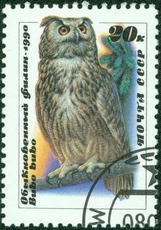 USSR - CIRCA 1990  A stamp printed in USSR showing owl, circa 1990 photo