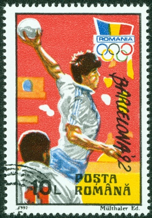 ROMANIA- CIRCA 1992  A stamp printed by Romania shows BARCELONA OLYMPIC GAMES 92 series, circa 1992