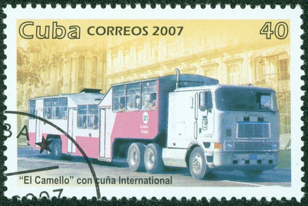 CUBA - CIRCA 2007  A stamp printed in Cuba ,shows truck, circa 2007 photo