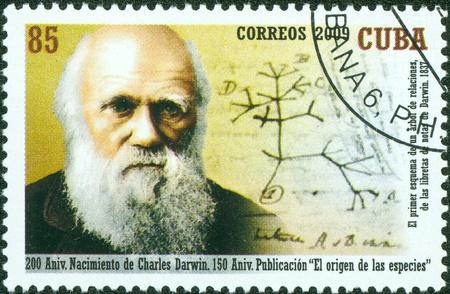 seres vivos: CUBA - CIRCA 2009 un sello impreso en CUBA, un famoso cient�fico, alrededor del a�o 2009 Editorial
