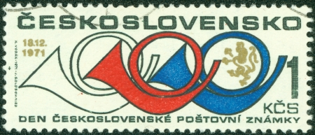 CZECHOSLOVAKIA - CIRCA 1971  A stamp printed in the Czechoslovakia, shows the Horn, circa 1971 photo