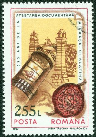 ROMANIA - CIRCA 1993  stamp printed by Romania, show old building, circa 1993  photo