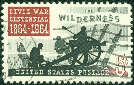 UNITED STATES OF AMERICA - CIRCA 1964  A stamp printed in USA shows image of the dedicated to the Civil War Centennial 1864 - 1964, circa 1964 Stock Photo - 14144897