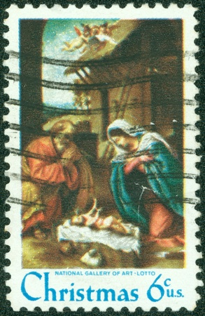 USA - CIRCA 1970  A stamp printed in the USA, shows the  Adoration of the Child  by Lorenzo Lotto, circa 1970