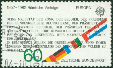 treaties: GERMANY- CIRCA 1982  stamp printed by Germany, shows treaties of Rome, circa 1982